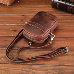 Casual Brown Leather Belt Pouch Mini Messenger Bag Men's Small Side Bag Phone Holster For Men