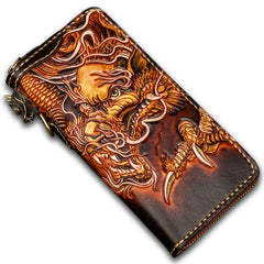 Handmade Leather Tooled Long Chinese Dragon Mens Chain Biker Wallet Cool Leather Wallet With Chain Wallets for Men