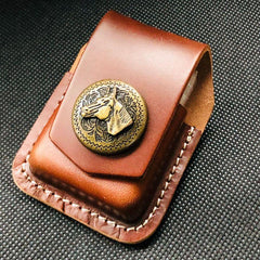 Black Handmade Leather Mens Indian Skull Zippo Lighter Holders Lighter Case For Men