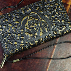 Handmade Leather Mens Tooled Skull Death Cool Zipper Phone Travel Long Wallet Card Holder Card Slim Clutch Wallets for Men