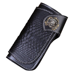 Handmade Mens Cool Tooled Long Boa Skin Leather Chain Wallet Biker Trucker Wallet with Chain