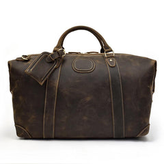 Casual Brown Leather Men Handbag Overnight Bags Travel Bags Weekender Bags For Men