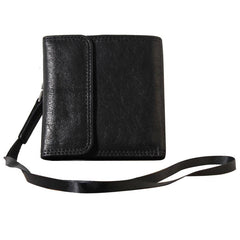 Genuine Leather Mens Cool billfold Leather Wallet Men Small Wallets Trifold for Men