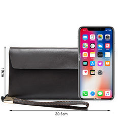 Cool Leather Long Wallet for Men Black Envelope Wallet Wristlet Clutch Wallet For Men