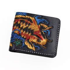 Handmade Leather Carp Mens Short Wallet Cool Leather Wallet Slim Wallet for Men