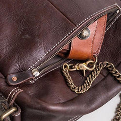 Genuine Leather Mens Cool Messenger Bag Square Bag Chest Bag Bike Bag Cycling Bag for men