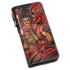 Handmade Leather Acalanatha Mens Tooled Long Chain Biker Wallet Cool Leather Wallet With Chain Wallets for Men