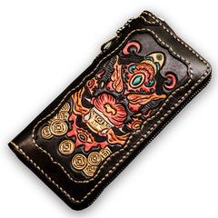 Handmade Leather Mens Tooled Monster Chain Biker Wallet Cool Leather Wallet Long Clutch Wallets for Men