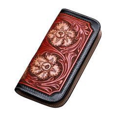 Handmade Leather Mens Clutch Wallet Cool Floral Tooled Wallet Long Zipper Wallets for Men
