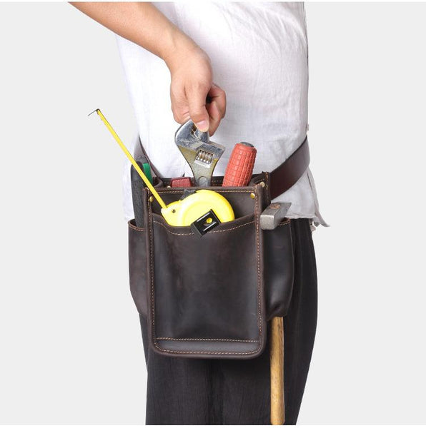 Cool Men's Leather Tool Pouch electrician tool bag Belt Pouch For Men