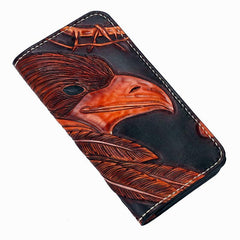 Handmade Leather Indian Eagle Mens Tooled Long Biker Wallet Cool Leather Wallet With Chain Wallets for Men