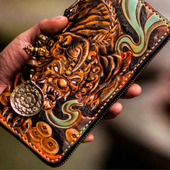 Handmade Leather Mens Tooled Monster Chain Biker Wallets Cool Leather Wallet Long Clutch Wallets for Men