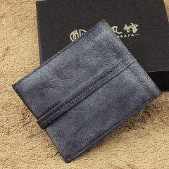 Handmade Mens Cool billfold Leather Wallet Men Small Slim Wallets Bifold for Men