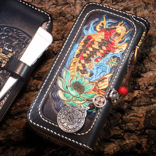 Handmade Leather Carp Mens Tooled Chain Biker Wallet Cool Leather Wallet Long Phone Wallets for Men