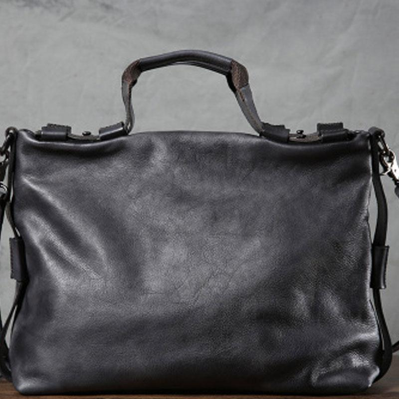 Handmade Leather Mens Cool Vintage Brown Briefcase Shoulder Bag Work Bag Business Bag Laptop Bag for men