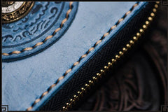 Handmade Leather Tibetan Mens Short Wallet Cool Chain Wallets Biker Wallet for Men