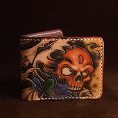 Handmade Tooled Leather Mens Skull billfold Wallets Bifold Wallet Small Wallet For Men