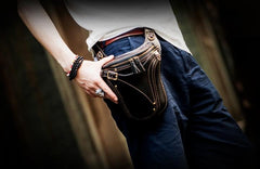 Leather Belt Pouches Mens Small Cases Waist Bag Hip Pack Belt Bags for Men