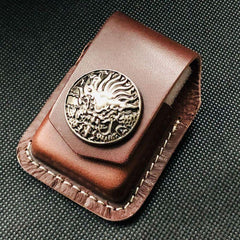 Black Handmade Leather Mens Cap Fish Zippo Lighter Holders Lighter Case For Men