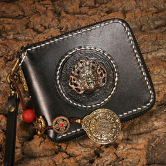 Handmade Leather Mens billfold Chain Biker Wallet Cool Leather Wallet Small Wallets for Men