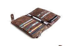 Genuine Leather Mens Cool Short Leather Wallet Men Cards Wallets Bifold for Men
