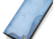 Handmade Leather Mens Clutch Wallet Cool Takahashi Wallet Long Zipper Wallets for Men