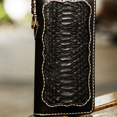 Handmade Leather Mens Biker Chain Wallet Cool Leather Wallet Long Biker Wallets for Men