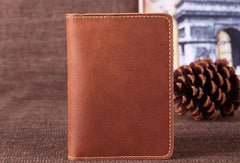 Vintage Leather Slim Mens Travel Wallet Bifold Passport Wallet For Men
