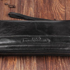 Genuine Leather Mens Cool Long Leather Wallet Zipper Wristlet Clutch Wallet