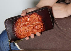 Handmade Leather Ganesha Tooled Biker Chain Mens Long Wallet Cool Leather Wallet Clutch Wallet for Men