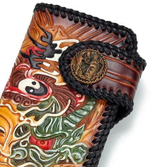 Handmade Leather Buddha&Demon Mens Tooled Long Chain Biker Wallet Cool Leather Wallet With Chain Wallets for Men