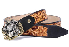 Handmade Genuine Custom Tooled Floral Cool Leather Mens Leather Men Belt for Men