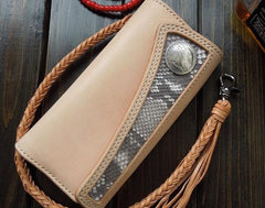 Handmade Leather Biker Wallet Boa Skin Long Trifold Mens Cool Chain Wallet Trucker Wallet with Chain