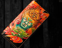 Handmade Leather Men Tooled Acalanatha Cool Leather Wallet Long Phone Clutch Wallets for Men