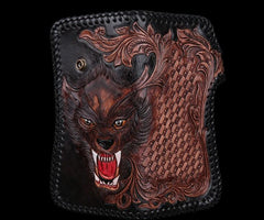Handmade Leather Wolf Mens Tooled Chain Biker Wallet Cool Leather Wallet Long Phone Wallets for Men