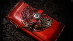 Handmade Leather Tibetan Mens Chain Biker Wallet Cool Leather Wallets Long Clutch Wallets for Men