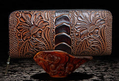 Handmade Leather Floral Mens Cool Zipper Phone Travel Long Wallet Card Holder Card Slim Clutch Wallets for Men