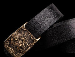 Handmade Black Leather Cool Mens Belt Leather Men Belts for Men