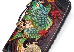 Handmade Leather Carp Mens Tooled Long Chain Biker Wallet Cool Leather Wallet Long Phone Wallets for Men