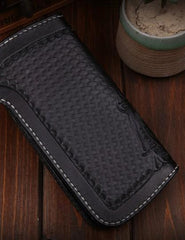 Handmade Leather Mens Cool Black Long Obsidian Chain Wallet Biker Trucker Wallet with Chain