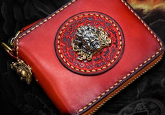 Handmade Leather Small Tooled Mens Short Wallet Cool Chain Wallets Biker Wallets for Men