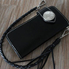 Handmade Leather Mens Cool Long Black Chain Wallet Biker Trucker Wallet with Chain