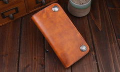 Handmade Leather Mens Trucker Wallet Cool Biker Leather Wallet Long Phone Wallets for Men