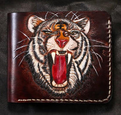 Handmade Leather Tiger Tooled Mens Short Wallet Cool Leather Wallet Slim Wallet for Men