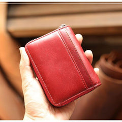 Black Leather Mens Card Short Wallet Zipper Small Card Wallet Card Holders For Men