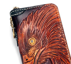 Handmade Leather Eagle Mens Tooled Long Chain Biker Wallet Cool Leather Wallet With Chain Wallets for Men