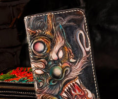 Handmade Leather Mens Clutch Wallet Cool Chinese Dragon Tooled Wallet Long Zipper Wallets for Men