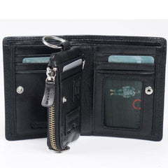 Genuine Leather Mens Cool Short Leather Wallet Men Small Zipper Wallets for Men