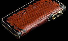 Handmade Leather Mens Tooled Eagle Chain Biker Wallet Cool Leather Wallet Long Clutch Wallets for Men