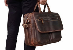 Genuine Leather Messenger Bag Cool Briefcase laptop Briefcase for men